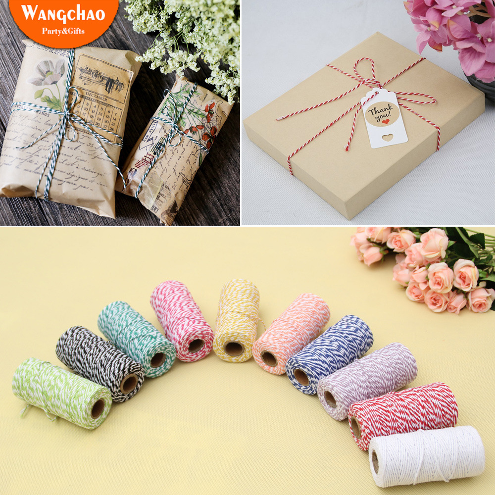 100M Double Color Cotton Rope Wedding Baby Shower Party Gifts Decoration Happy Birthday Valentine 39 s Day Gift DIY Packing Rope in Party DIY Decorations from Home amp Garden