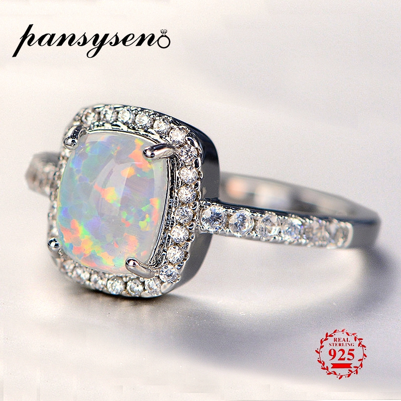 PANSYSEN 100% Real 925 Sterling Silver Jewelry Natural Opal Rings For Women New Wedding Engagement Ring With AAAA Zircon Stones