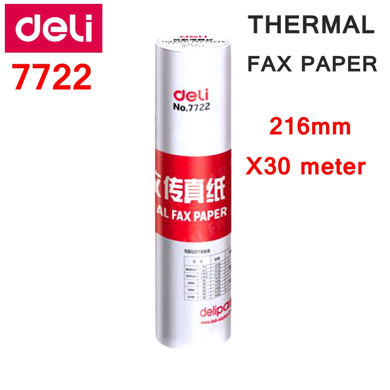 1 Roll Deli  7722 Thermal Fax Paper A4  216mm X 30meter Thermal Fax Machine Paper 55g Coated Paper Packing Size 216x50mm Roll
