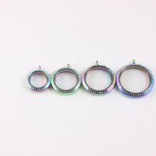 6pcs Rainbow Crystal Floating Locket Stainless Steel Screw Living Memory Glass Pendant Father day gift