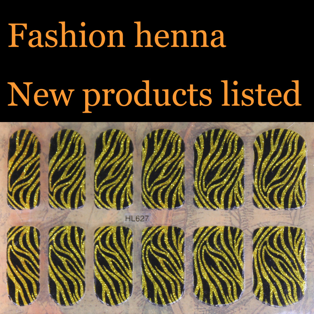 Gold Big tiger stripe pattern finger henna Nail Art Stickers Mixed Designs Watermark nails tips Decals Wraps Nail Art Tools