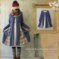 Japanese Spring Autumn Mori Girl Dress Women S Lolita Loose Cotton Linen Patchwork Cute Plaid Female