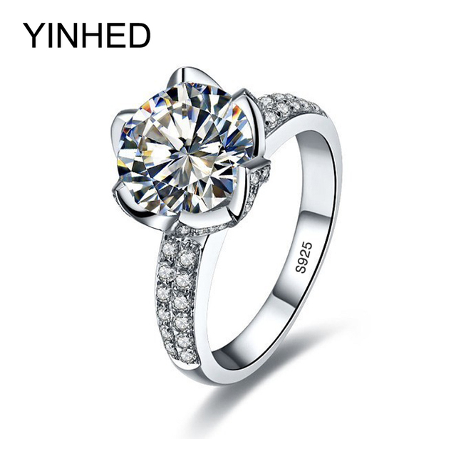 YINHED Brand Exquisite Flower Wedding Ring 925 Silver 3 Carat CZ Diamant Engagement Rings For