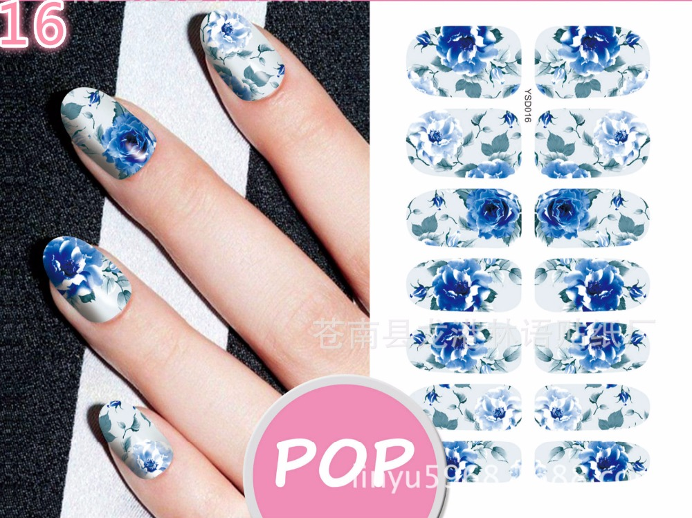 2017 komt nieuw water transfer nail sticker decals korea stijl bloem - Nagel kunst