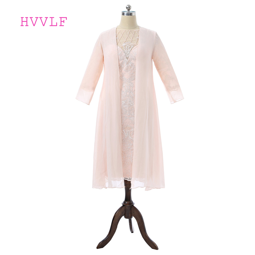 Peach 2019 Mother Of The Bride Dresses Sheath Chiffon Lace Beaded With Jacket Plus Size Groom Short Mother Dresses For Weddings
