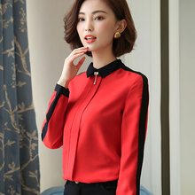 Brand New 2017 Long sleeve chiffon blouse shirt women tops autumn  red o-neck chemise tube blusas 336C