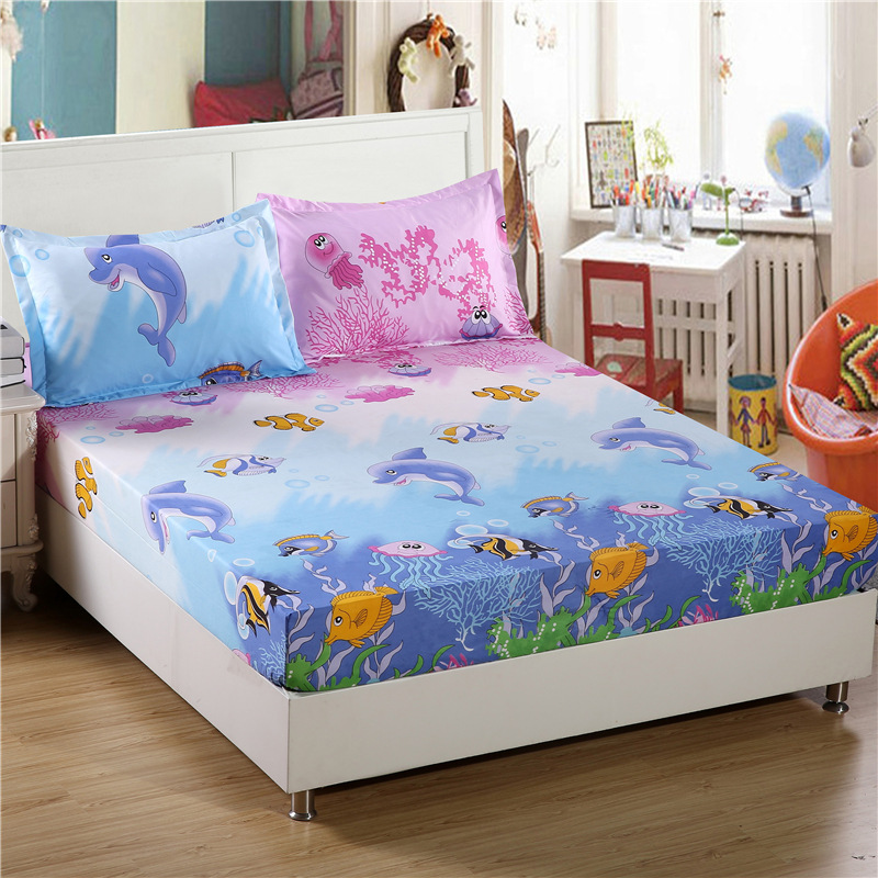 Cartoon Kids Fitted Sheet Pillowcase Polyester Reactive Printed Bed Sheet Queen King Size Fitted