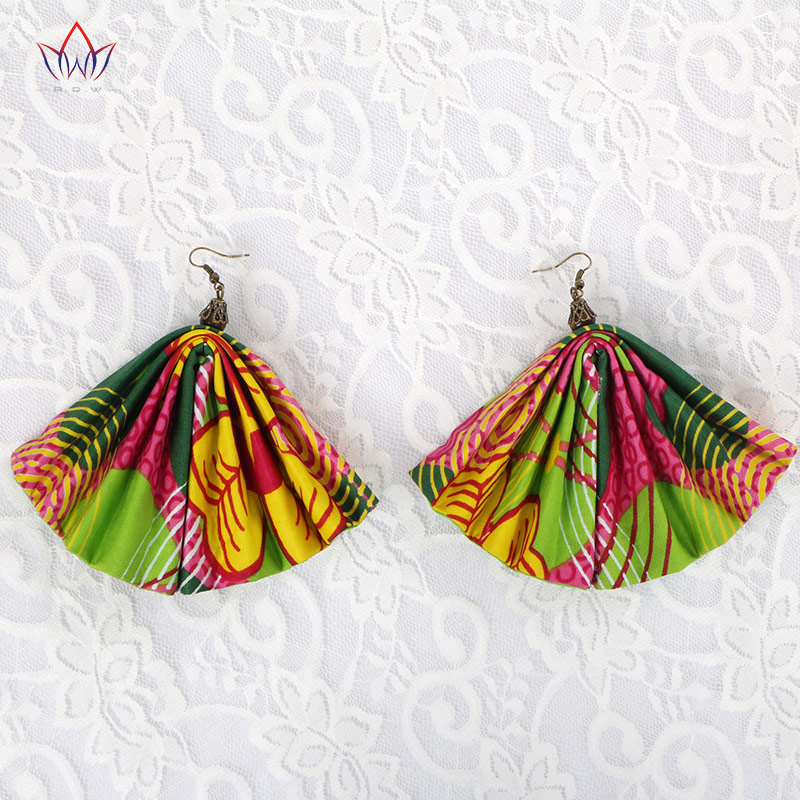 BRW 2020 Fabric African Earrings Ethnic Ankara Earrings Fan Shape African Print Earring For Women Ankara Handmade Jewelry WYA081