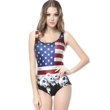 2017 New Harajuku Skull American Flag Womens Summer SwimSuits One Piece Fitness Sexy Triangle Bathing Suits