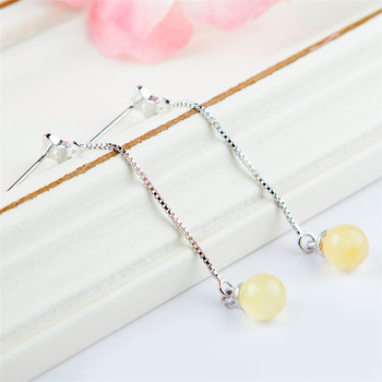 2018 New Genuine Natural Yellow Crystal Stone Bead Sterling 925 Silver Fashion Lady Jewelry Drop Earring Trendy Crystal Earring