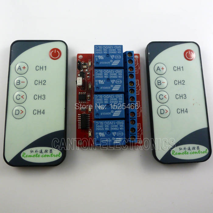 NEW Remote Control Switch 4 Channel Relay Module Board With Infrared Wireless