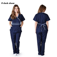 IF Female short sleeve Medical Scrub suits dental beautician oral pet operating room surgical top pant nursing scrubs set summer