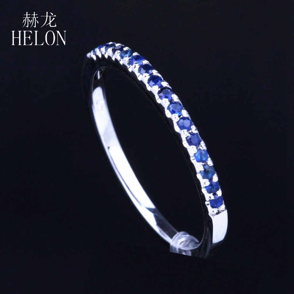 HELON Solid 10K White Gold Anniversary Natural Sapphires Ring Pave Fine Sapphires Engagement Wedding Ring Fine Jewelry WomensHELON Solid 10K White Gold Anniversary Natural Sapphires Ring Pave Fine Sapphires Engagement Wedding Ring Fine Jewelry Womens