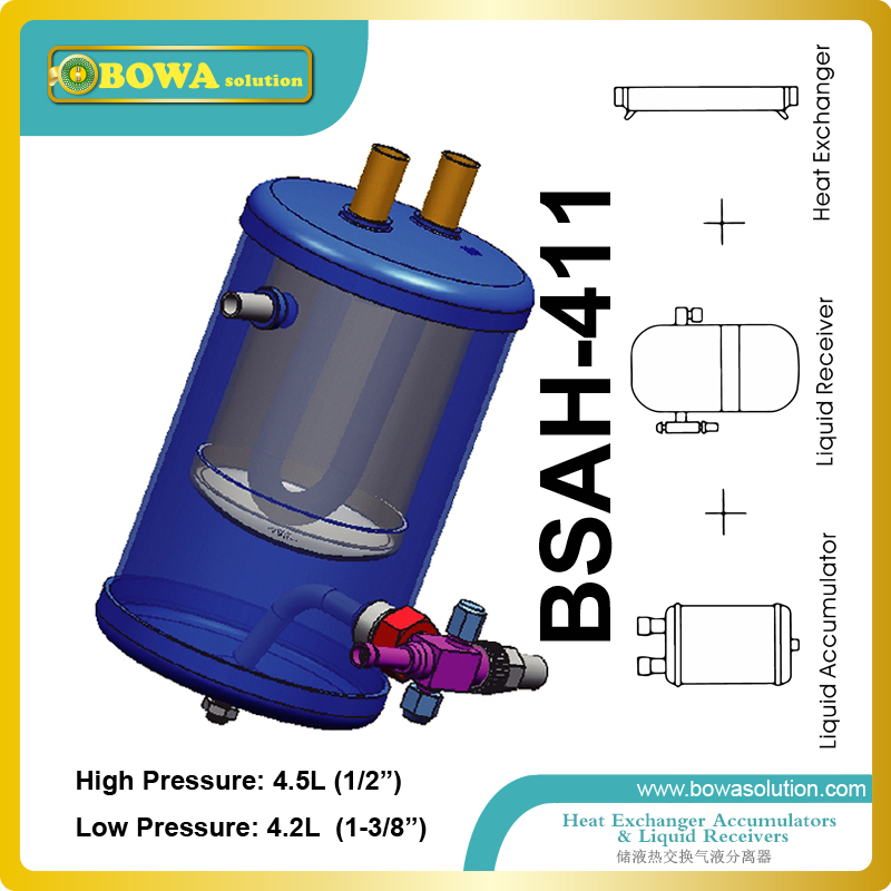 A combined refrigerant receiver, suction line accumulator and superheater & subcooler is useful in refrigeration/cascade unitsA combined refrigerant receiver, suction line accumulator and superheater & subcooler is useful in refrigeration/cascade units
