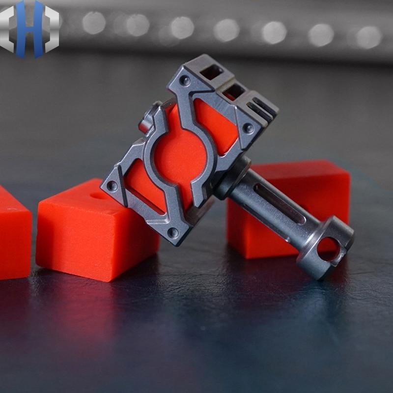 EDC Titanium Energy Hammer TurboGlow Luminous Material Luminous Hammer Knife Pendant Tritium Tube Knife Beads plywood