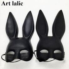 Черная сексуальная маска с заячьими ушками для женщин и девочек, маска с милыми заячьими ушками, маска для связывания на Хэллоуин, маскарад, вечеринку, косплей, костюм, реквизит