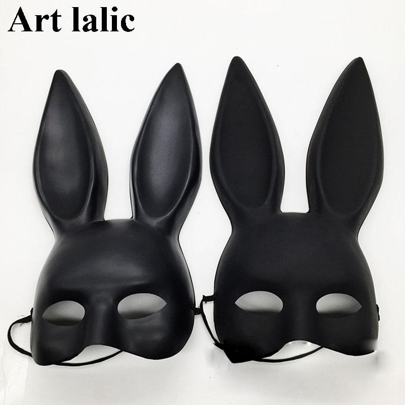 Mark Black Women Girl Sexy Rabbit Ears Mask Cute Bunny Long Ears Bondage Mask Halloween Masquerade Party Cosplay Costume Props