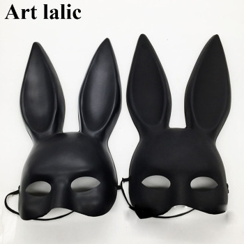 Mark Black Women Girl Sexy Rabbit Ears Mask Cute Bunny Long Ears Bondage Mask Halloween Masquerade Party Cosplay Costume Props