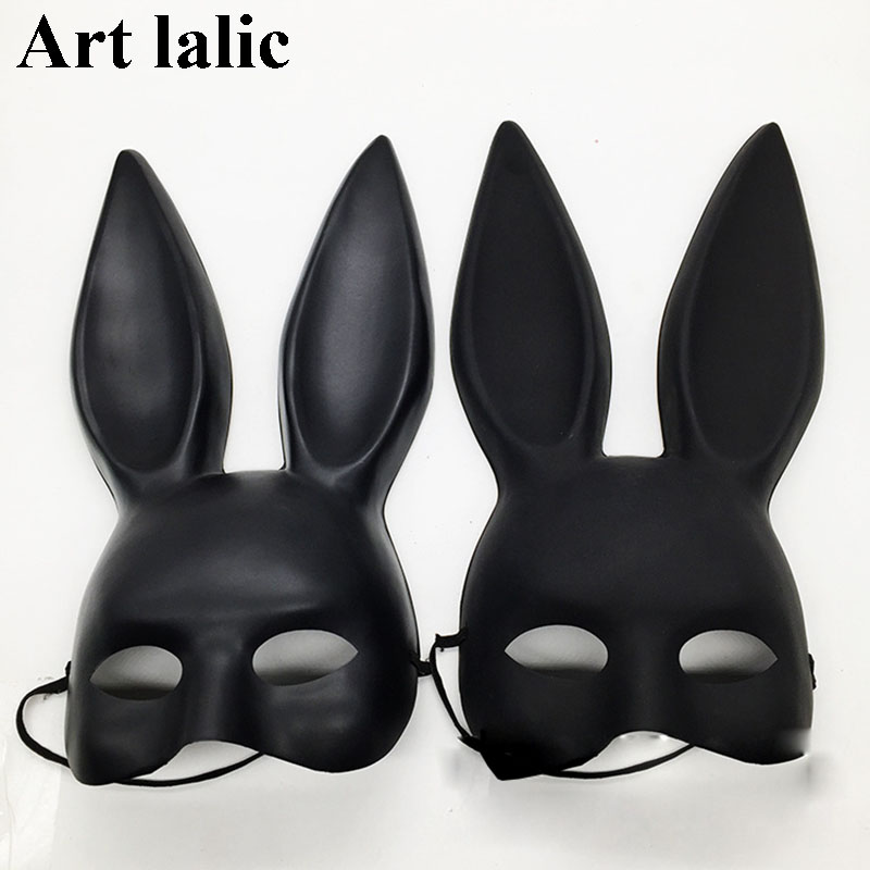 Mark Black Women Girl <font><b>Sexy</b></font> Rabbit Ears Mask Cute Bunny Long Ears Bondage Mask <font><b>Halloween</b></font> Masquerade Party <font><b>Cosplay</b></font> Costume Props image