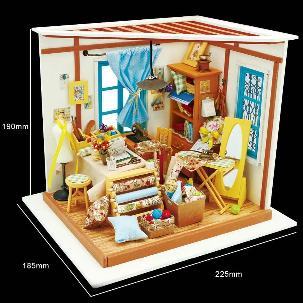 Robud дропшиппинг DIY кукольный домик и мебель свет деревянный миниатюрный комплекты кукольных домиков Лизы портной игрушечные лошадки для детей подарок девочк