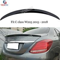 For Mercedes W205 Spoiler 4-Door Sedan C180 C200 C300 2015 - 2018 AMG style ABS Plastic Car Rear Wing Trunk Lip Boot