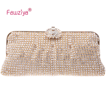 Fawziya Clutch Bag Acrylic Men-made Diamond Mesh Lady Upscale Elegant Evening Party Clutch