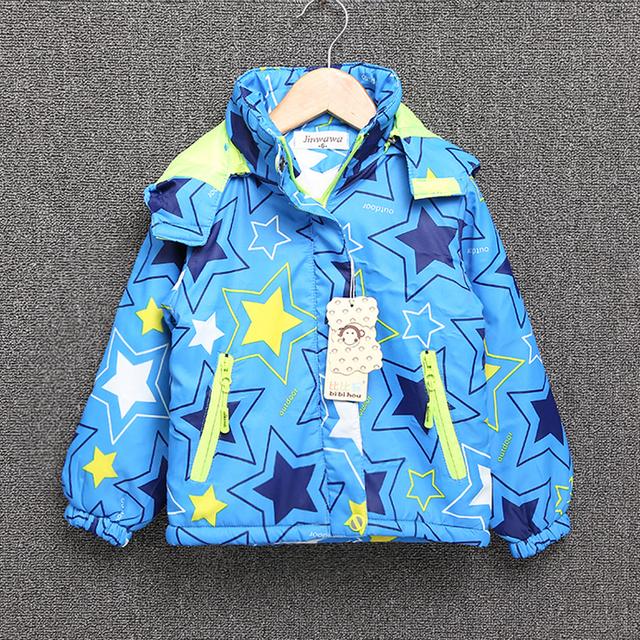Chaqueta de los niños para las niñas de manga larga chaqueta cazadora delgado coats cotton star del bebé de los niños ropa de abrigo con capucha para niños
