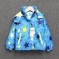 Revestimento das crianças para meninas blusão de manga longa camadas finas de algodão star jaqueta com capuz roupas quentes das crianças do bebê para crianças