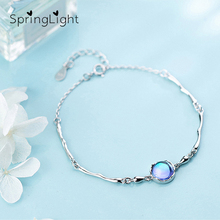 SpringLight Aurora Design Blue Halo Crystal Real 925 Sterling Silver Fine Jewelry Gemstone Bracelet for Women Fashion Girls Gift