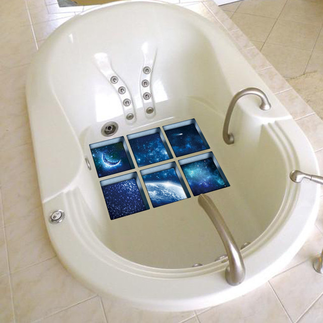 Nuovo Divertente 6 pz 3D vasca da bagno adesivi Ombra Acqua Modello 3D Impermeabile Antiscivolo Vasca Da Bagno Sticker Vasca Da Bagno Della Decalcomania del PVC murale
