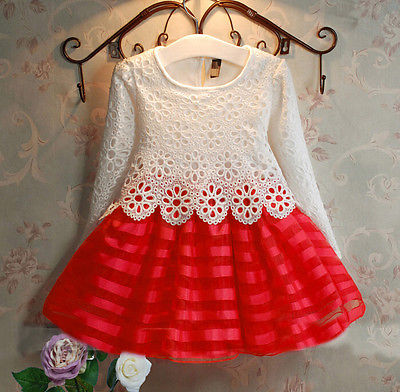 3 8y Toddler Baby Girls Kids Tutu Crochet Lace Dress Long Sleeve