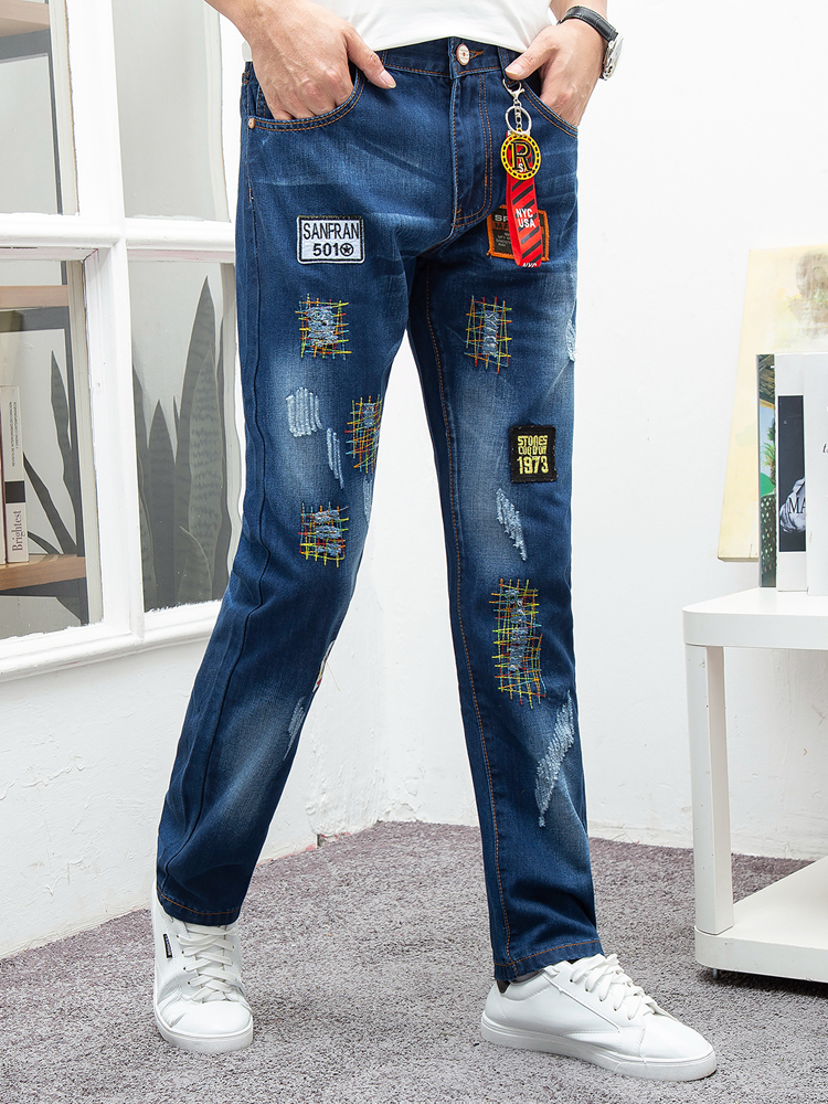 HAYBLST Brand Hot Sale Jeans Men 2019 Autumn And Winter Fashion Patchwork Embroidery Casual Worn Out Streetwear Homme Long Jeans