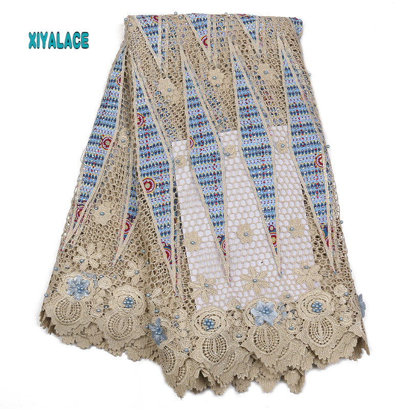 African Lace Fabric 2019 High Quality Lace 3D Flowers Tullle Lace Fabric French Beads Lace Fabric For Party Beads YA2324B-5