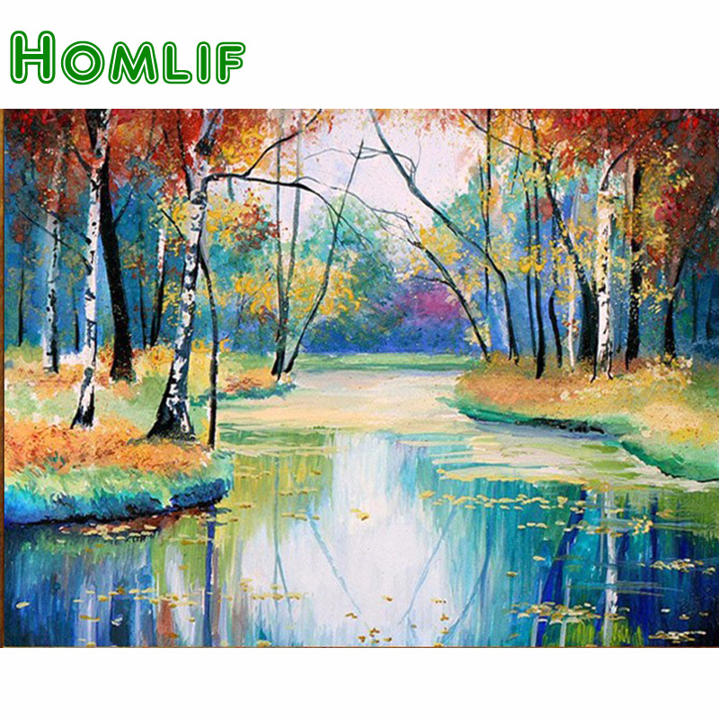 HOMLIF Full Square/Round Drill 5D DIY Diamond Painting Forest River Crystal Cross Stitch Needlework Home Decor Mosaic Embroidery