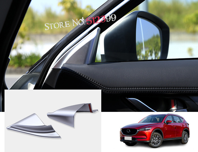 2 pieces ABS A pillar trim audio frame Front door triangle sticker cover trim For Mazda CX-5 CX5 2nd Gen. 2017 2018 Accessories for mazda cx 5 cx5 2nd gen 2017 2018 interior custom car styling waterproof full set trunk cargo liner mats tray protector