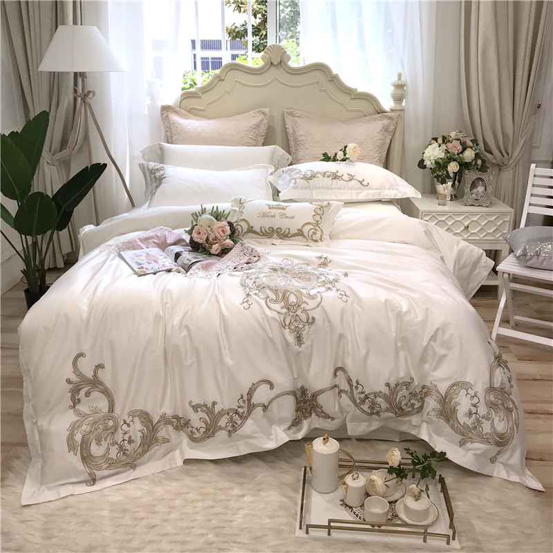 white Pink Luxury Embroidery 80S Egyptian Cotton Bedding Set King Queen Size Duvet Cover Bed Linen