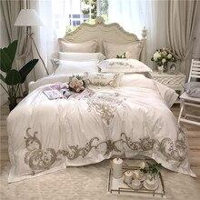Белый/розовый Роскошные вышивки 80 s из египетского хлопка Постельное белье King queen Размеры пододеяльник постельное белье лист наволочки 4/7 шт.