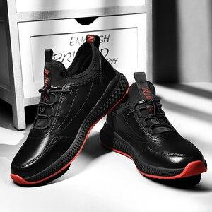 Image 2 - SUROM Atmungsaktive Turnschuhe Leder Casual Schuhe Männer Leichte Komfortable Außen Lace Up Sportschuhe Männlichen Nicht slip