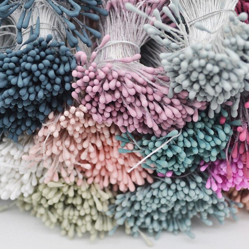 400pcs 1.5mm Double Heads DIY Artificial Mini Pearl Flower Stamen Pistil Wedding Birthday Cakes Decor Scrapbooking Fake Flowers