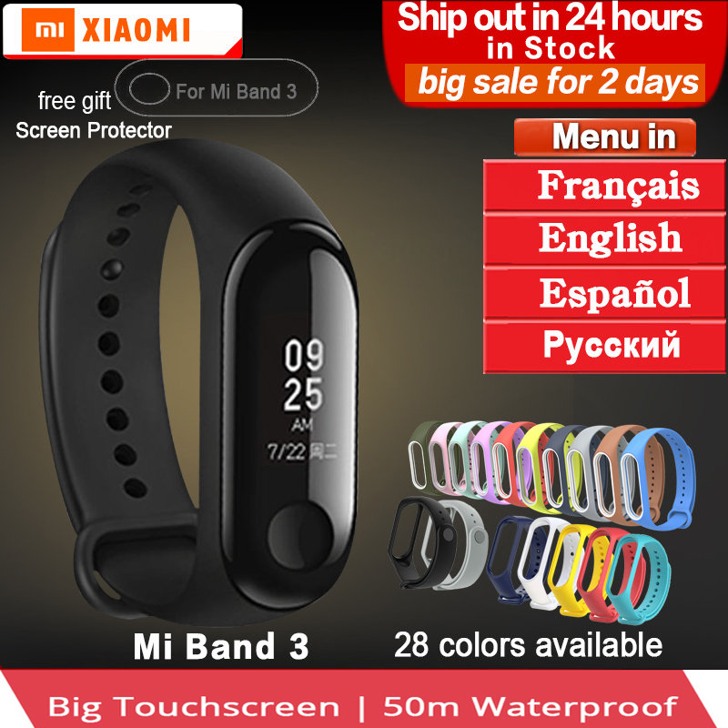 Original Xiaomi mi Band 3 miband 3 Waterproof Smart Bracelet band Heart Rate Pulse Xiaomi Miband 3 OLED xiaomi mi 3 Wristband