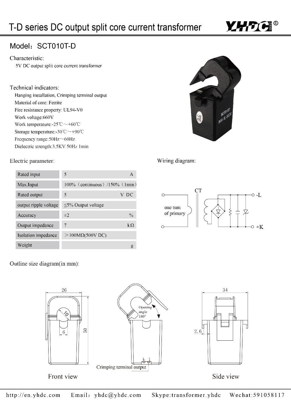 YHDC split core current transformer SCT010T-D 50A10V DC 2/%