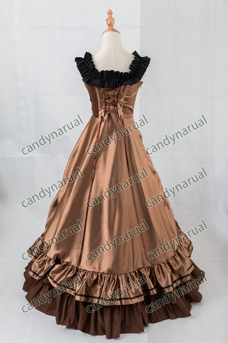 ZNCJ Vintage Viktorianischen Gothic Steampunk Kleid Lange Abend ...