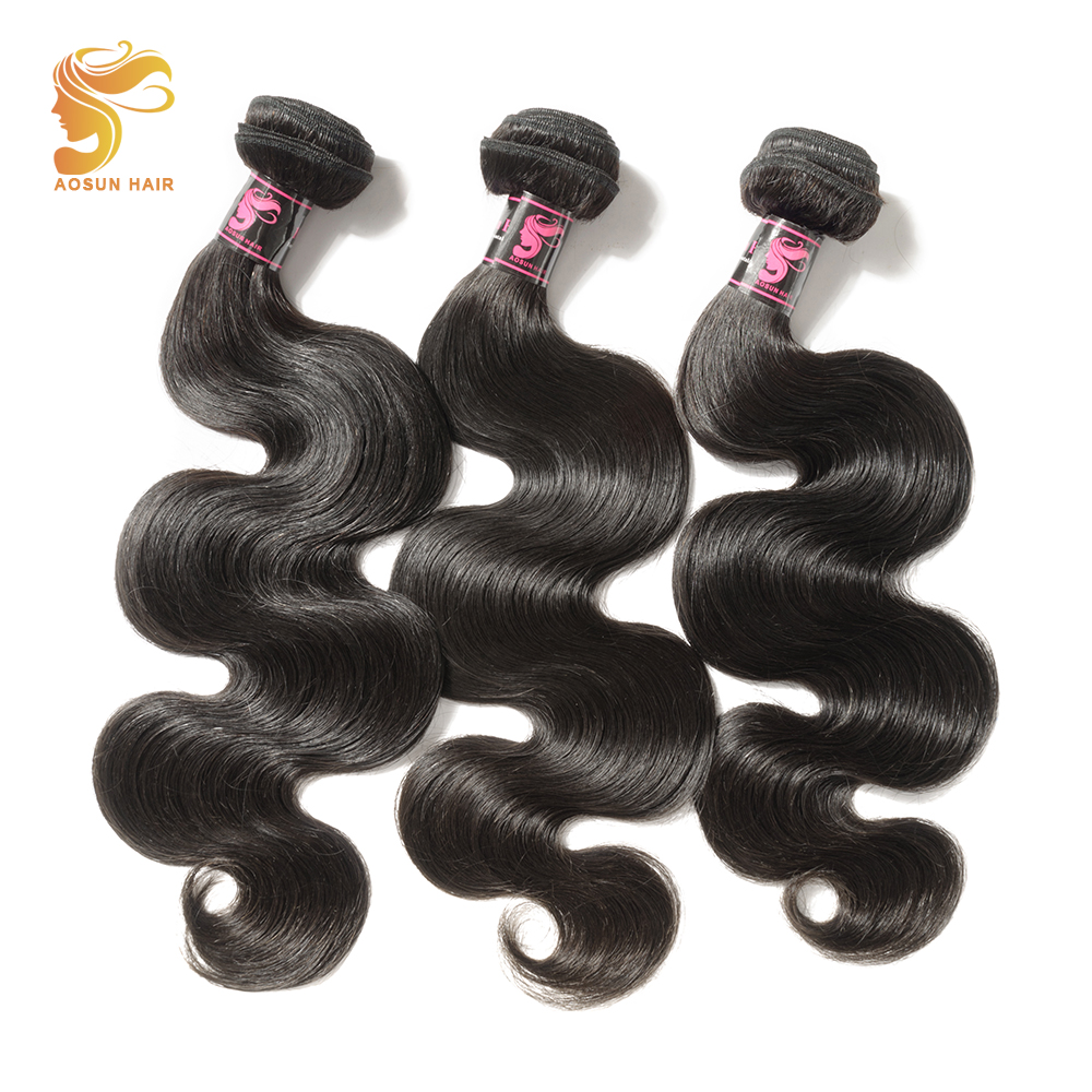 AOSUN HAIR Malaysia Hair Bundles Body Wave Remy Human Hair Weave 100g/pc Natural Color 3pc Hair Extensions 8-28inch