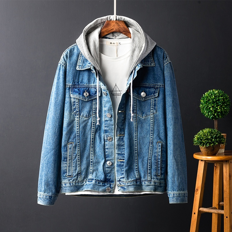 Oversize Blue Con Bombardero Otoño Hombre Denim Loose Jeans Hip Tops Capucha Coat Hombres Hop Desmontable Streetwear Chaqueta FnAagY