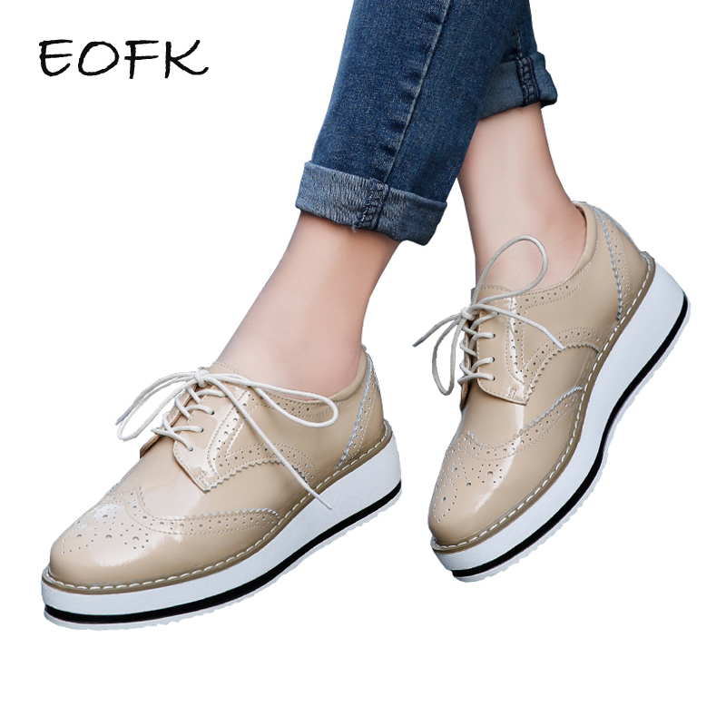 EOFK Women Platform Brogue Patent Leather Flats Lace Up Oxford Shoes Pointed Toe Creepers Vintage Female Flat Shoes Luxury Brand damen sandalen leder 38