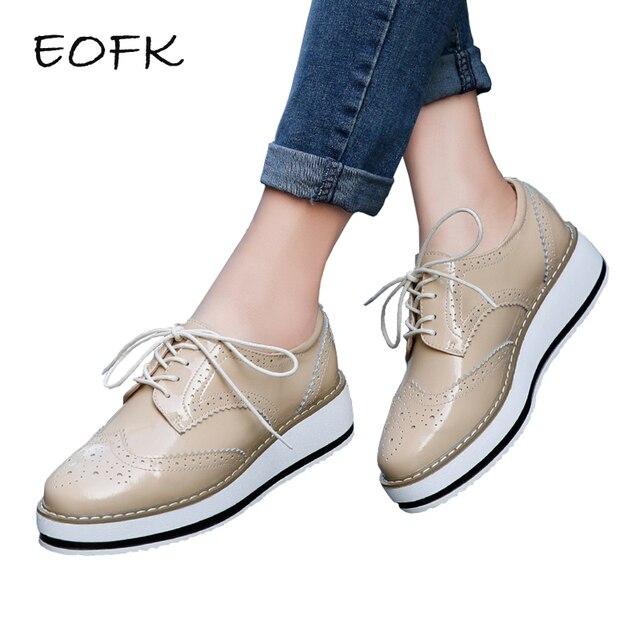 869f525f37f47 EOFK Primavera Plataforma de Las Mujeres Zapatos de Mujer Atan Para Arriba  Calzado de Charol Pisos