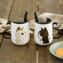 Cute creative Big 450ML Car pattern ceramic coffee mug with spoon and cover Healthy Office home use Cat set