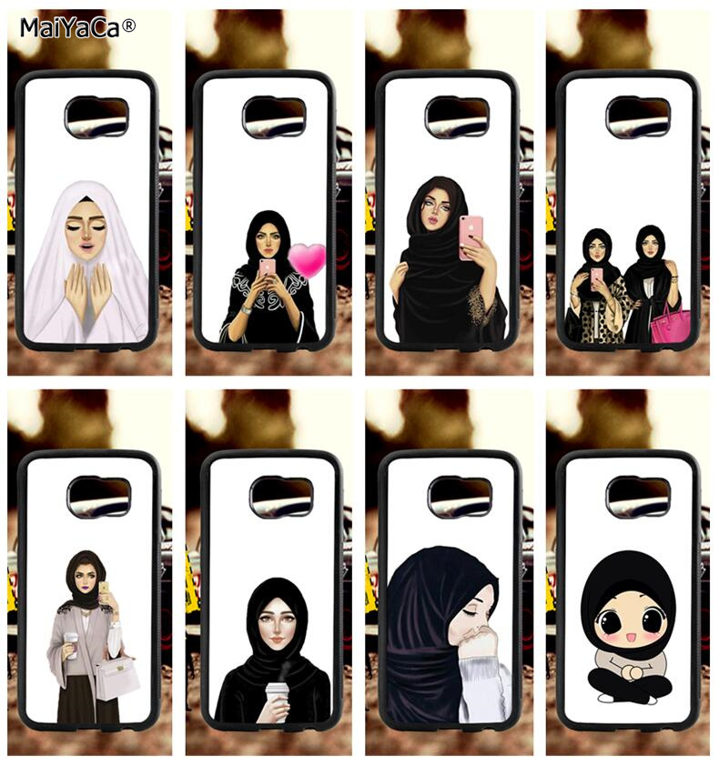 muslim hipster girls man soft TPU edge phone cases for samsung s6 edge plus s7 edge s8 plus s9 plus note5 note8 note9 case in Half wrapped Cases from Cellphones Telecommunications
