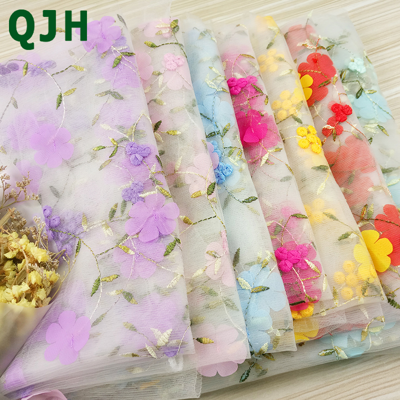 Arts,crafts & Sewing Apparel Sewing & Fabric Logical Qjh 1 Yard 3d Delicate Small Flowers Mesh Embroidery African Chiffon Lace Fabrics Handmade Diy Dress Clothing Lace Accessory New Varieties Are Introduced One After Another