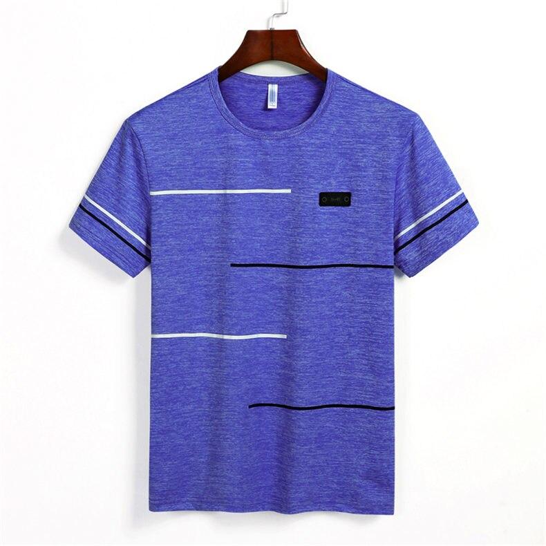 9XL Summer T shirts Men Clothing Polyester Plus Size 5XL 6XL 7XL 8XL Male Tshirts Breathable Short Sleeve Strip Top Tees O-Neck 07